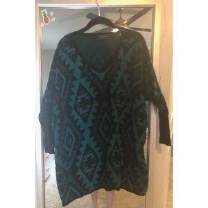 Akira Aztec Patterned Oversized Sweater Tunic